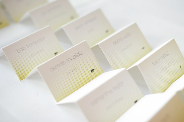 Modern Yellow and Gray Place Cards