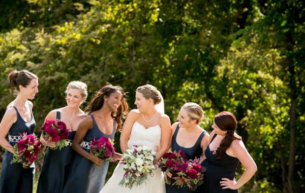 Navy Scoopneck Bridesmaids Dresses With White Brocade Waist