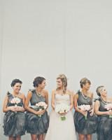 One Shoulder Charcoal Bridesmaids Dresses 1