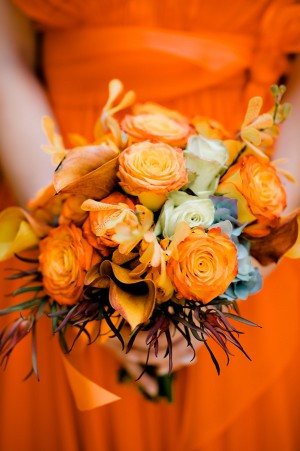 Orange Bridesmaids Bouquet
