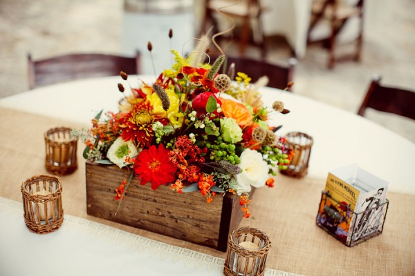 Orange and Yellow Fall Floral Centerpieces
