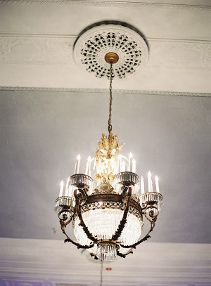 Ornate Iron and Crystal Chandelier