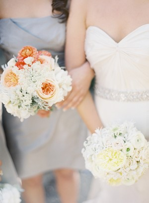Pale Peach and White Bouquets