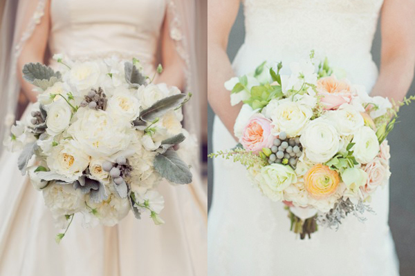 Pastel and Ivory Wedding Bouquets