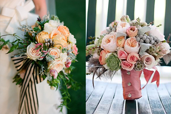 Peach and Blush Pink Wedding Bouquets