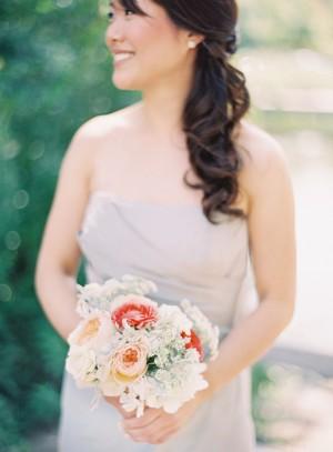 Peach and White Bridesmaids Bouquet