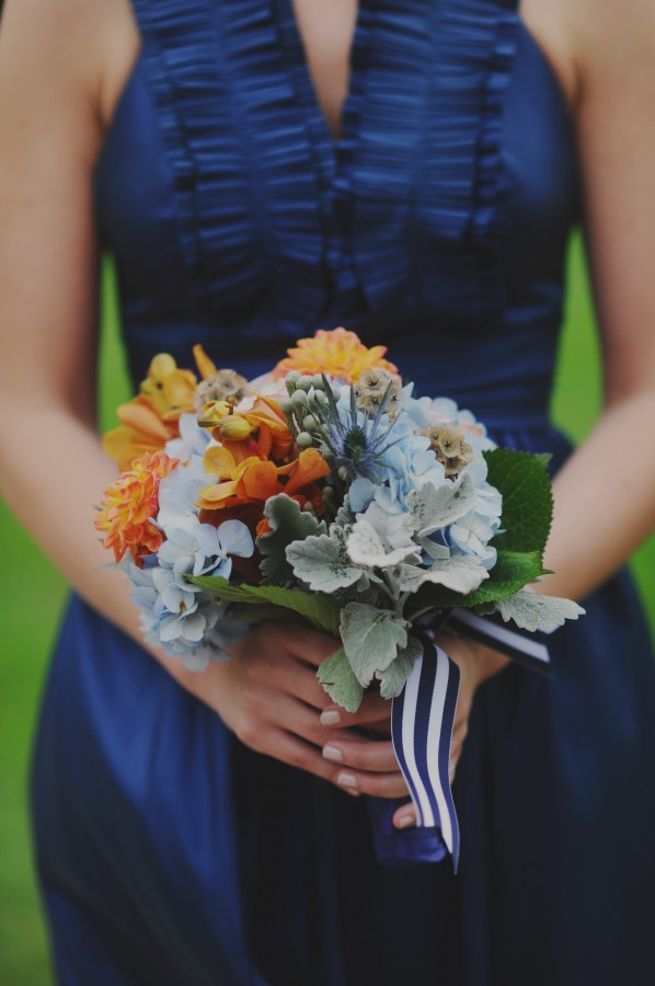 Peacock Blue Bridesmaid Dress and Striped Ribbon Bouquet
