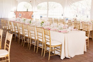 Pink Rectangular Reception Tables With Gold Bamboo Chairs