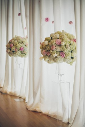 Pink and White Floral Topiaries