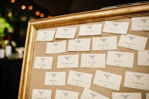 Place Cards on Burlap in Gold Frame