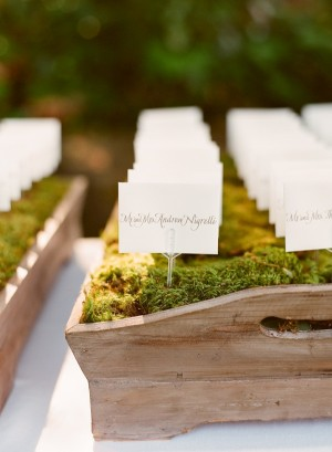 Escort Cards in Moss Tray