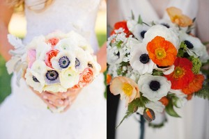 Poppy and Anemone Wedding Bouquets