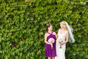 Purple Tea Length Bridesmaids Dress