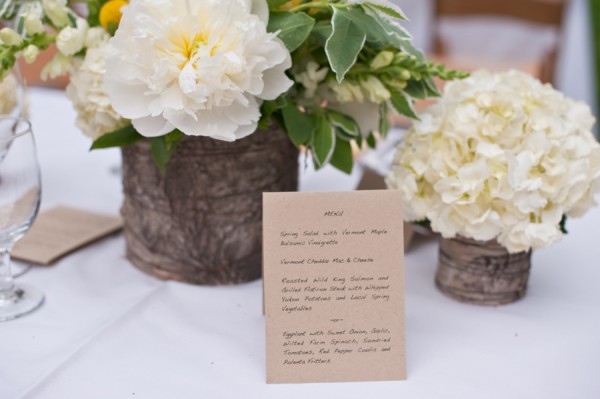 Reception Arrangements With White Flowers in Birch Containers