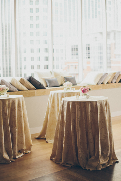 Reception Cocktail Tables With Silk Draped Cloths 1