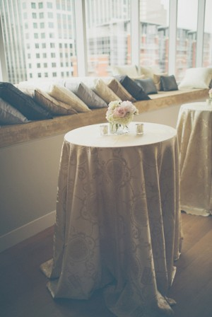 Reception Cocktail Tables With Silk Draped Cloths