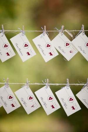 Reception Place Cards Pinned on Twine