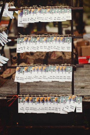 Reception Place Cards Tied to Rustic Gate