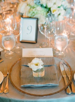 Reception Place Setting With Blue Gray Silk Linens
