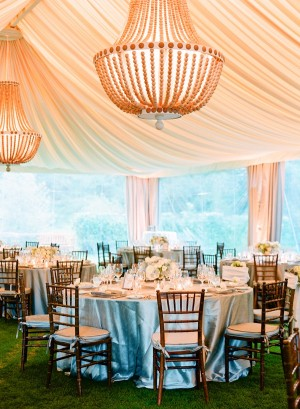 Reception Tent With Intricate Beaded Chandeliers
