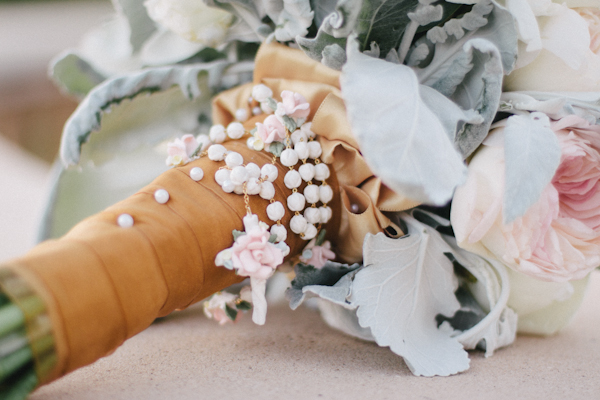 Rosary on Bridal Bouquet Wrap