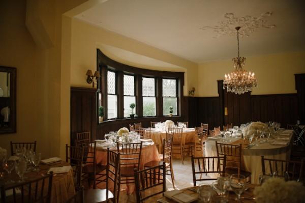 Round Reception Tables With White Hydrangeas