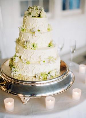 Round Tier Wedding Cake With Hydrangeas 1