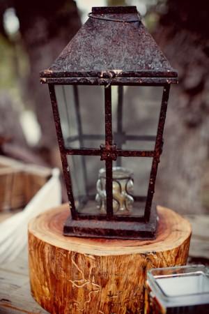 Rustic Lantern With Votive on Tree Stump