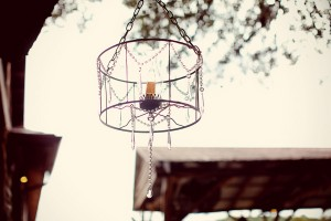 Rustic Outdoor Chandelier With Hurricane and Candle