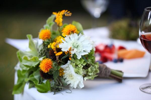 Safflower and Scabiosa Bouquet
