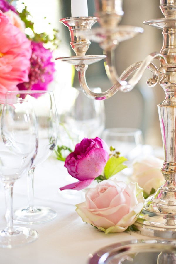 Silver Candelabra With White Candles