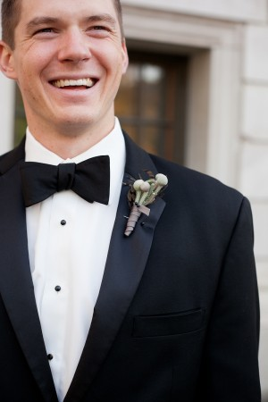 Simple Boutonniere with Brown Ribbon