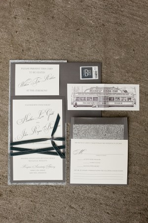 Slate Colored Wedding Stationery