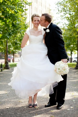 Sleeveless Wedding Gown With Full Skirt