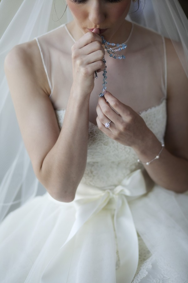 Sleeveless Wedding Gown With Sheer Overlay and Bow Waist Detail