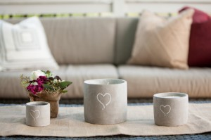 Stone Candle Holders With Hearts