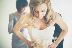 Strapless Wedding Gown With Flower Petal Detailing 1