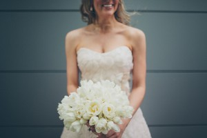 Strapless Wedding Gown With Flower Petal Detailing 3