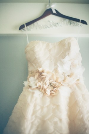 Strapless Wedding Gown With Flower Petal Detailing