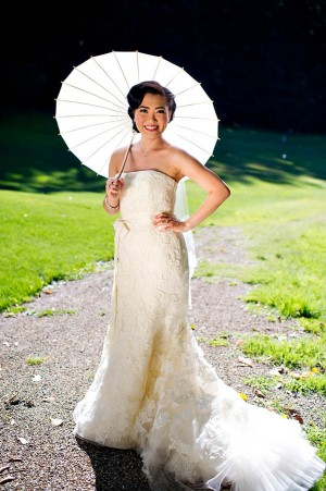 Strapless Wedding Gown With Lace Overlay and Bow Waist 1