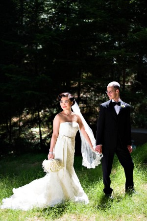Strapless Wedding Gown With Lace Overlay and Bow Waist 2