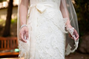 Strapless Wedding Gown With Lace Overlay and Bow Waist