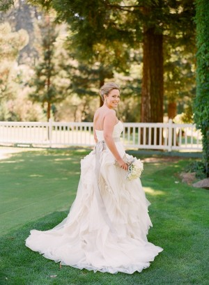 Strapless Wedding Gown With Ruffle Skirt and Champagne Ribbon Waist 1
