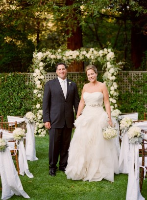 Strapless Wedding Gown With Ruffle Skirt and Champagne Ribbon Waist 3