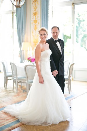 Strapless White Wedding Gown With Leaf Motif 1