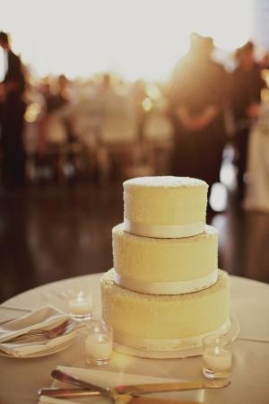 Three Tier Round Wedding Cake With Satin Ribbon