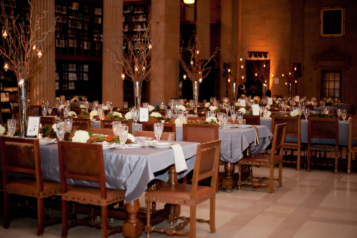 Twig and feather reception table centerpieces in mercury for Glass tables for wedding reception
