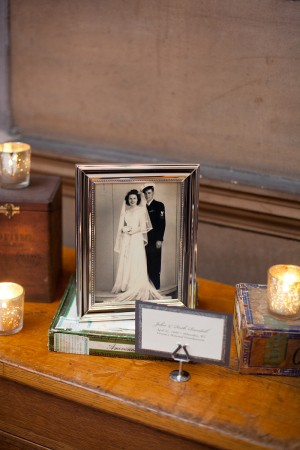 Vintage Wedding Photos on Guest Table
