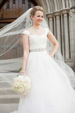 Wedding Gown With Ribbon Belt and Rhinestone Detail 1