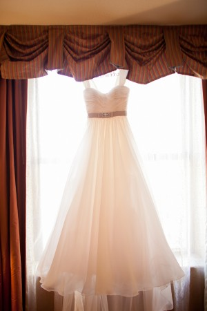 Wedding Gown With Ribbon Belt and Rhinestone Detail